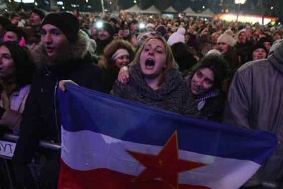 Beograd, 30. decembra 2016 - Gradjani na novogodisnjem koncertu ispred Narodne skupstine. FOTO TANJUG / SAVA RADOVANOVIC / bb
