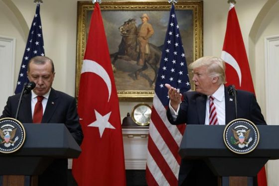 President Donald Trump, accompanied by Turkish President Recep Tayyip Erdogan, speaks in the Roosevelt Room of the White House in Washington Tuesday, May 16, 2017. (AP Photo/Evan Vucci)