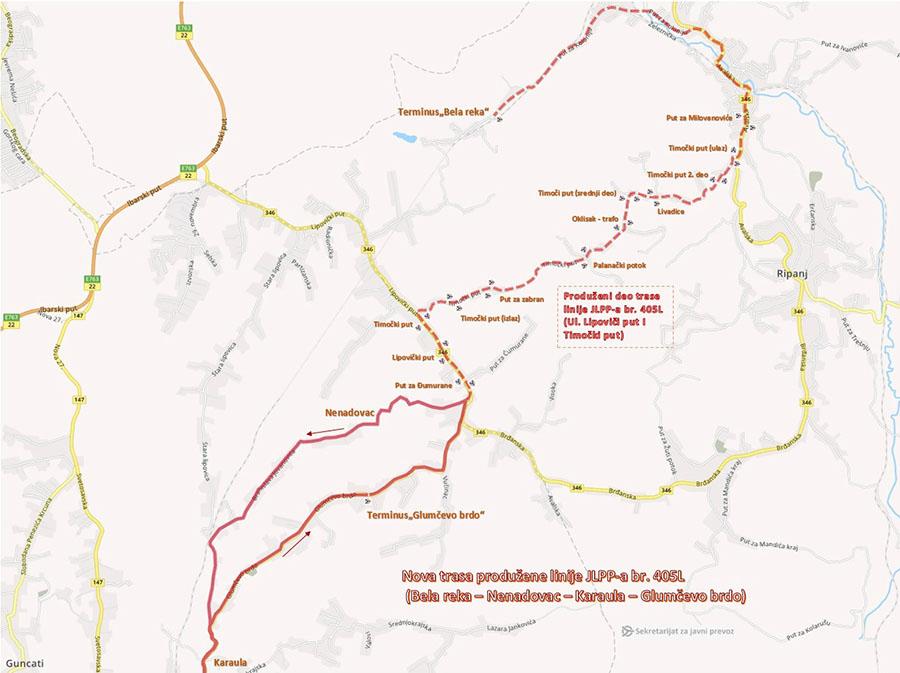 Trasa produžene linije JLPP-a br. 405L