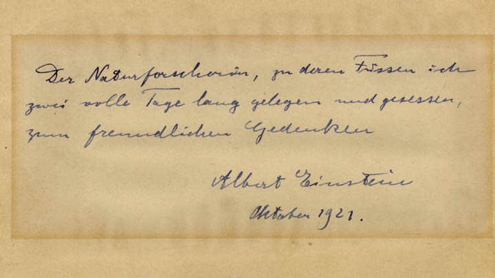 "This undated photo provided by Winner's Auctions and Exhibitions shows a letter by Albert Einstein to a young chemistry student named Elisabetta Piccini he wrote on his visit to Florence in October 1921, that will be auctioned in Jerusalem March 6, 2018. The letter reads, "" To the scientific researcher, at whose feet I lay and sat for two full days, as a friendly souvenir."" The phrase ""to lie at somebody's feet"" is an expression of affection in German. (Winner's Auctions and Exhibitions via AP)"