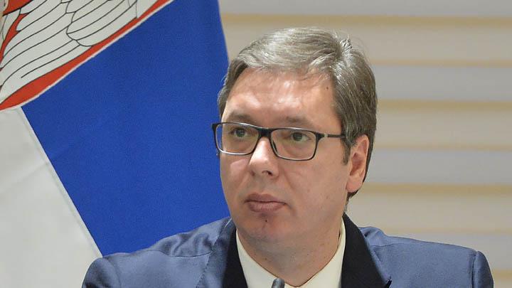 Mostar, 6. februara 2018 - Predsednik Srbije Aleksandar Vucic na konferenciji za novinare nakon trilateralnog sastanka BiH, Hrvatske i Srbije u Mostaru. FOTO TANJUG / ZORAN ZESTIC / bb