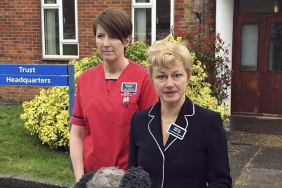 "Dr Christine Blanshard, Medical Director, and Lorna Wilkinson, director of nursing, left, make a statement outside the District Hospital in Salisbury, England, Tuesday April 10, 2018, giving an update on the condition of nerve agent poison victims Yulia and Sergei Skripal.  Yulia Skripal has been discharged from hospital Tuesday, ""This is not the end of her treatment but marks a significant milestone,"" said Dr. Christine Blanshard, and her Russian father former double agent Sergei Skripal remains in hospital. (Ben Mitchell/PA via AP)"