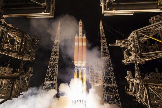 A Delta IV rocket, carrying the Parker Solar Probe, lifts off from launch complex 37 at the Kennedy Space Center, Sunday, Aug. 12, 2018, in Cape Canaveral, Fla. The Parker Solar Probe will venture closer to the Sun than any other spacecraft and is protected by a first-of-its-kind heat shield and other innovative technologies that will provide unprecedented information about the Sun. (Bill Ingalls/NASA via AP)