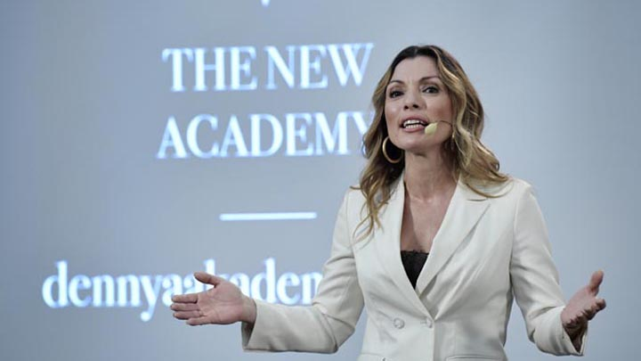 Alexandra Pascalidou, founder of The New Academy, at the announcement of the Alternative Nobel Literature Prize, in Stockholm City Library, Stockholm, Friday, Oct. 12, 2018. (Janerik Henriksson/TT News Agency via AP)