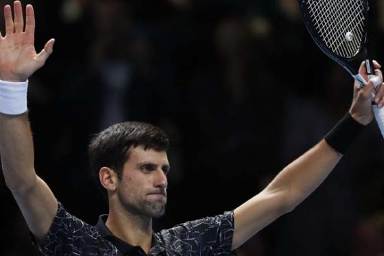 Novak Djokovic of Serbia celebrates after defeating Alexander Zverev of Germany in their ATP World Tour Finals men's singles tennis match at the O2 arena in London, Wednesday, Nov. 14, 2018. (AP Photo/Alastair Grant)